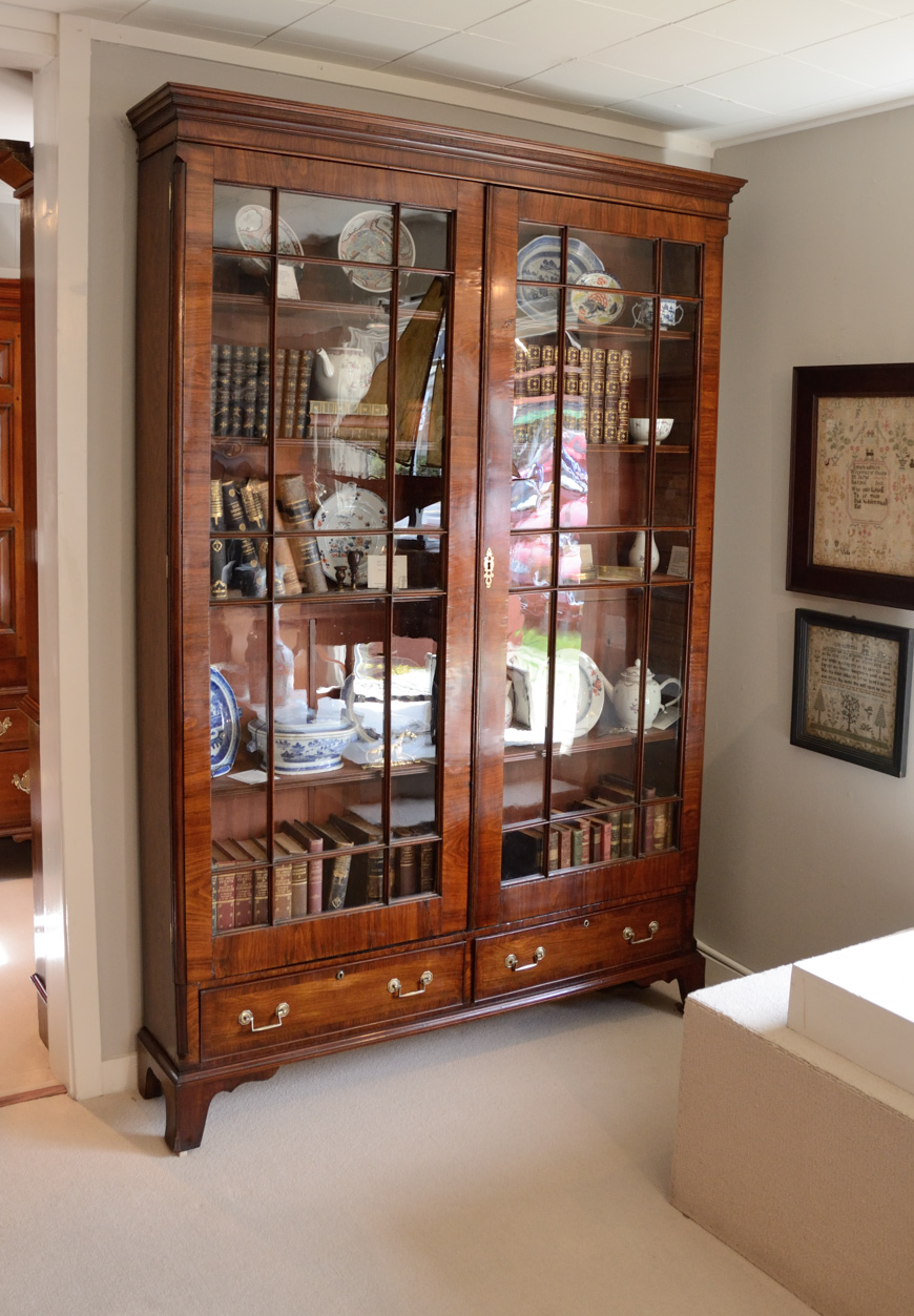 Chippendale-Walnut-Inlaid-Bookcase-Cabinet