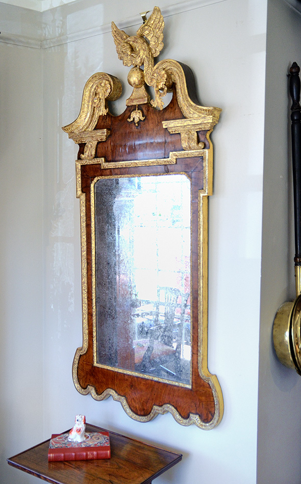 George-III-Walnut-Parcel-Gilt-Mirror