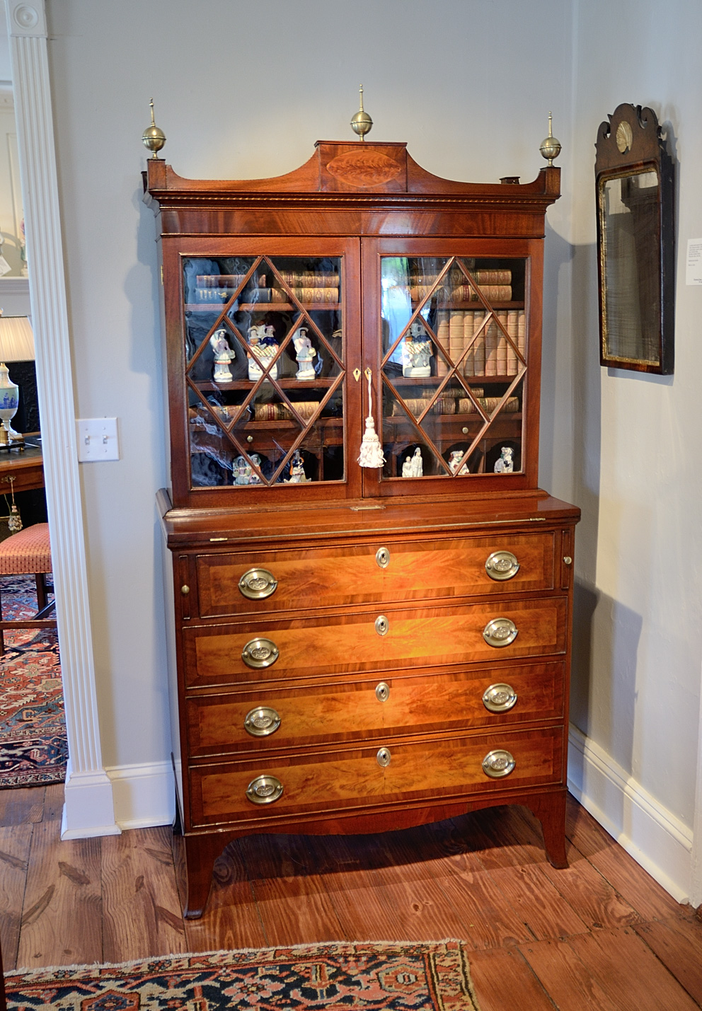 Hepplewhite-Mahogany-Inlaid-Secretary-Bookcase