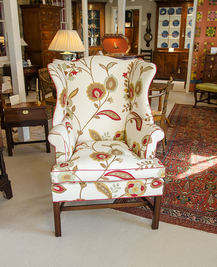 Upholstered Chippendale Wing Chair