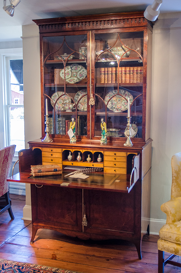 George III Mahogany Tulip Wood Secretary Bookcase