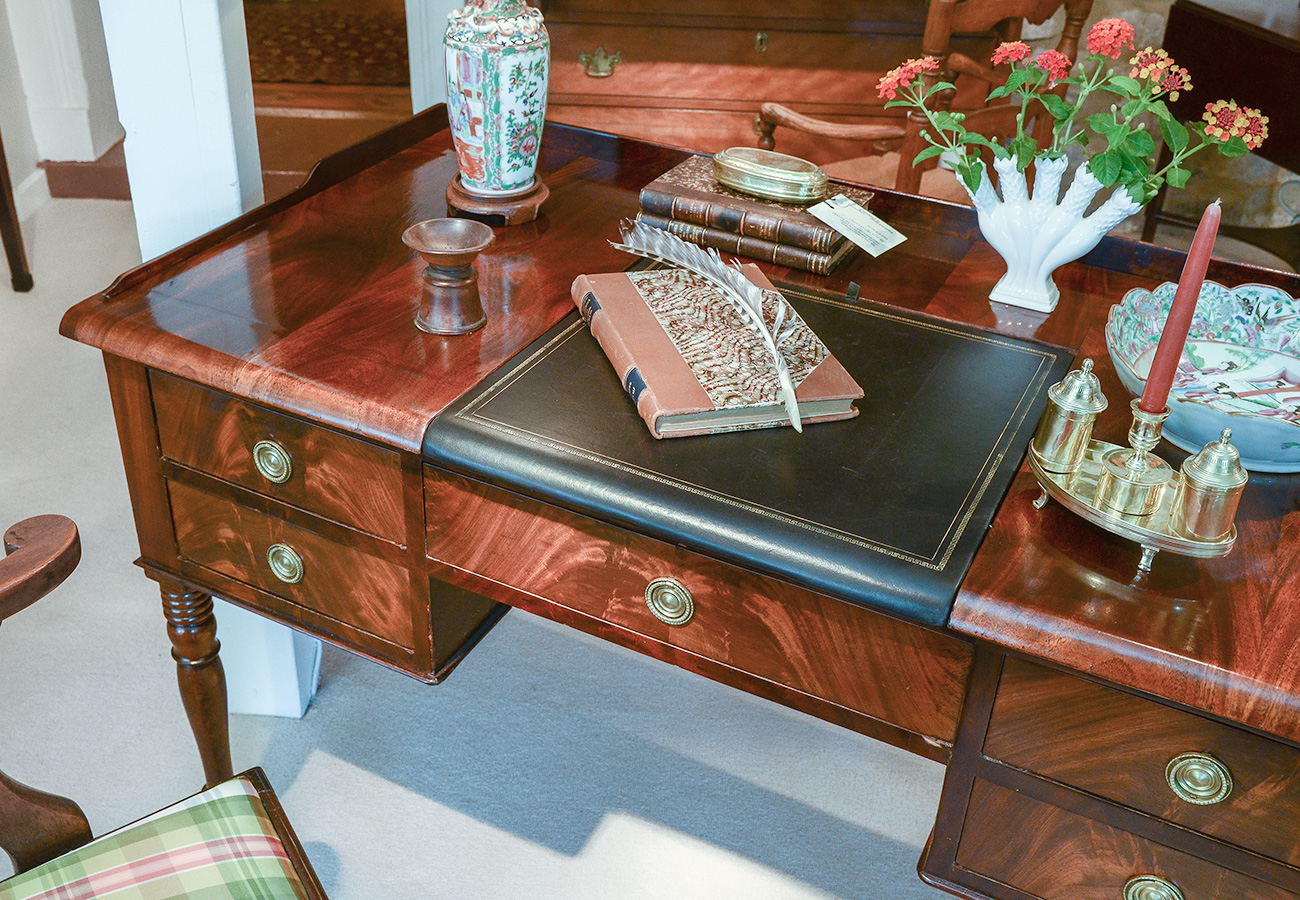 Neo Classical Figured Mahogany Writing Table Sold