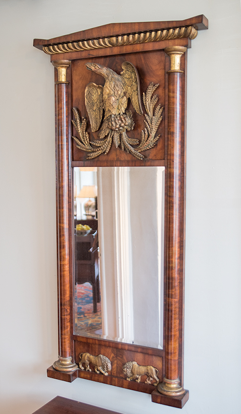 Wood Carved Mirror With Eagle