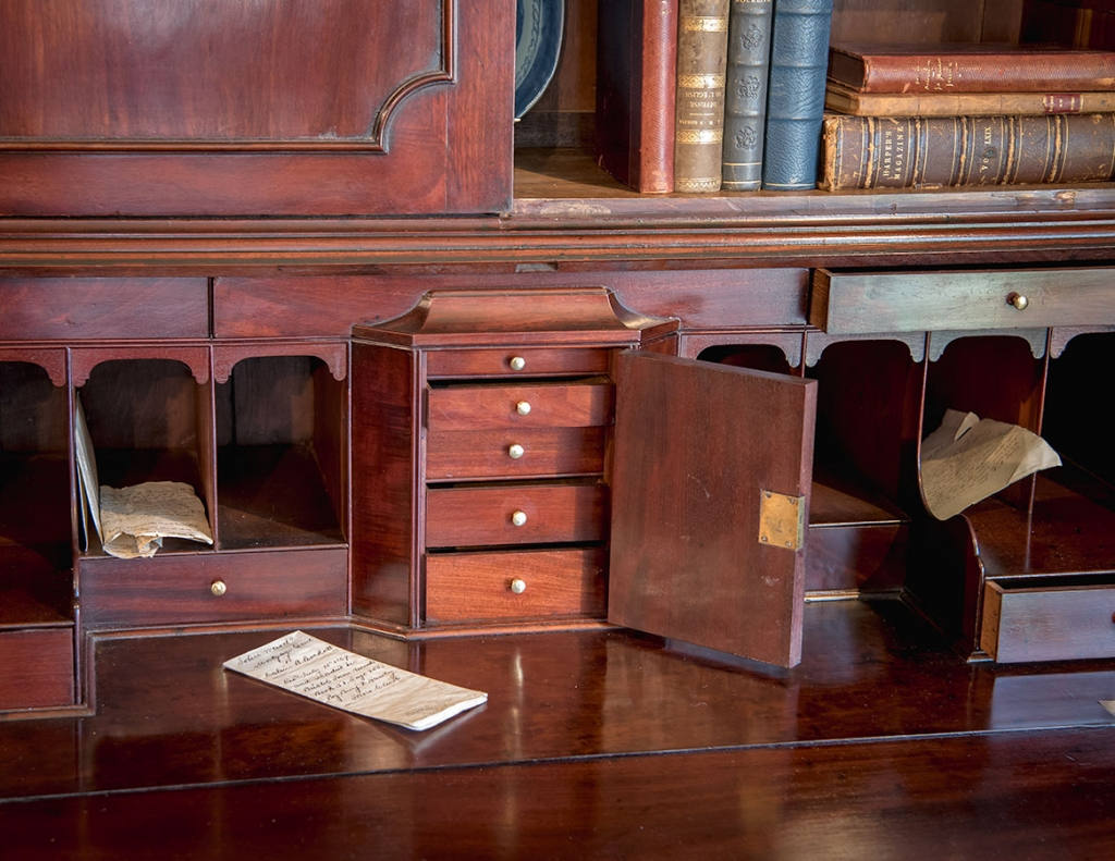Chippendale Walnut Slant-Front Desk close