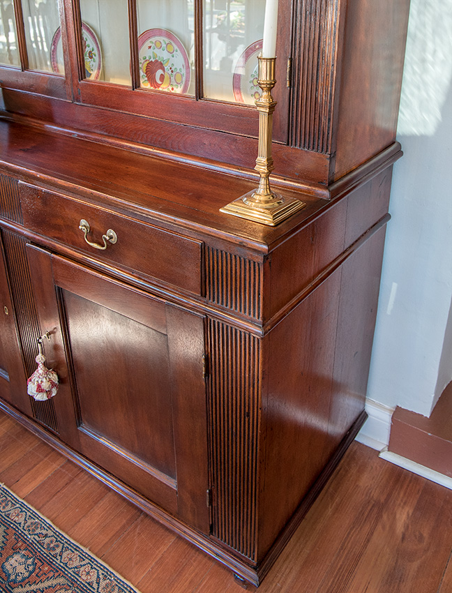 Federal Walnut Step-Back Cupboard Side View