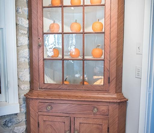 Paint Decorated Corner Cupboard