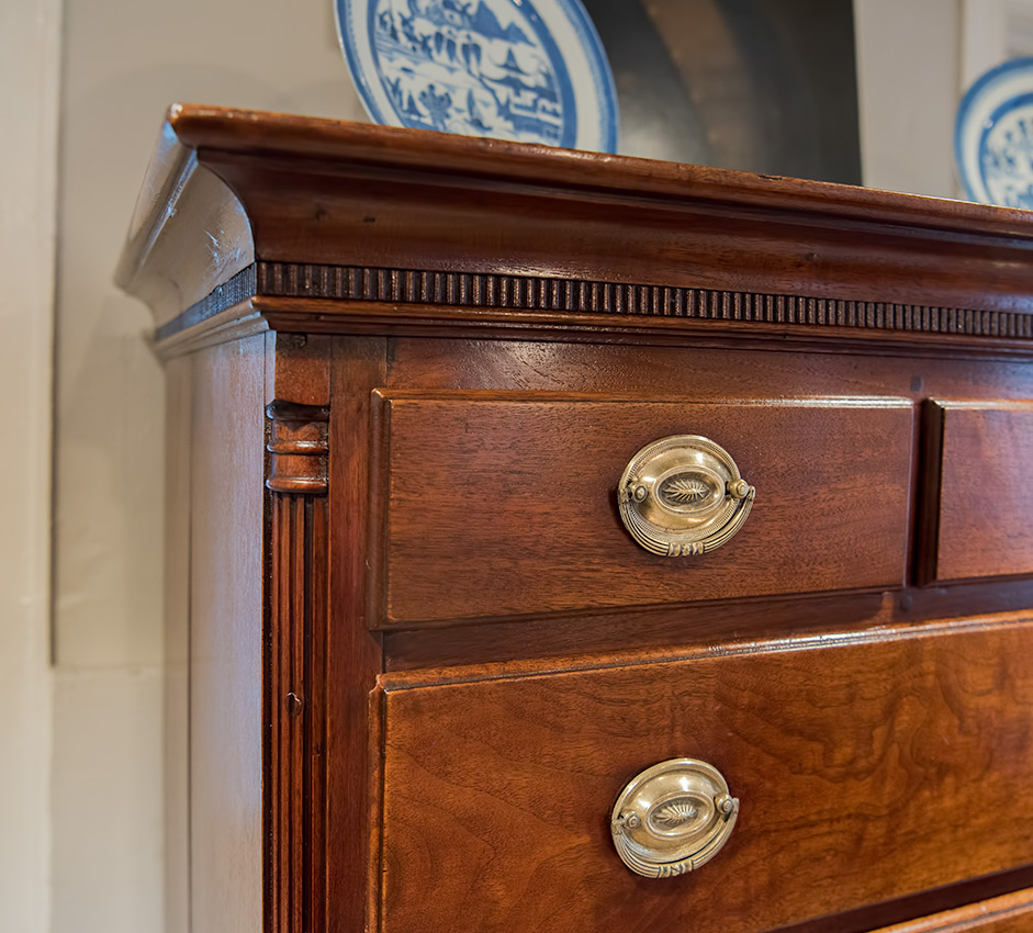 Chippendale Walnut Chest Drawers cornice detail