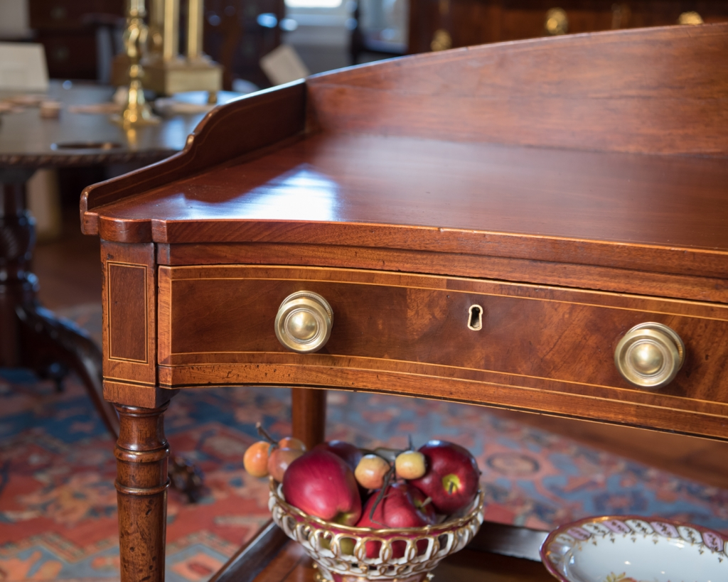 Mahogany serving table drawer detail