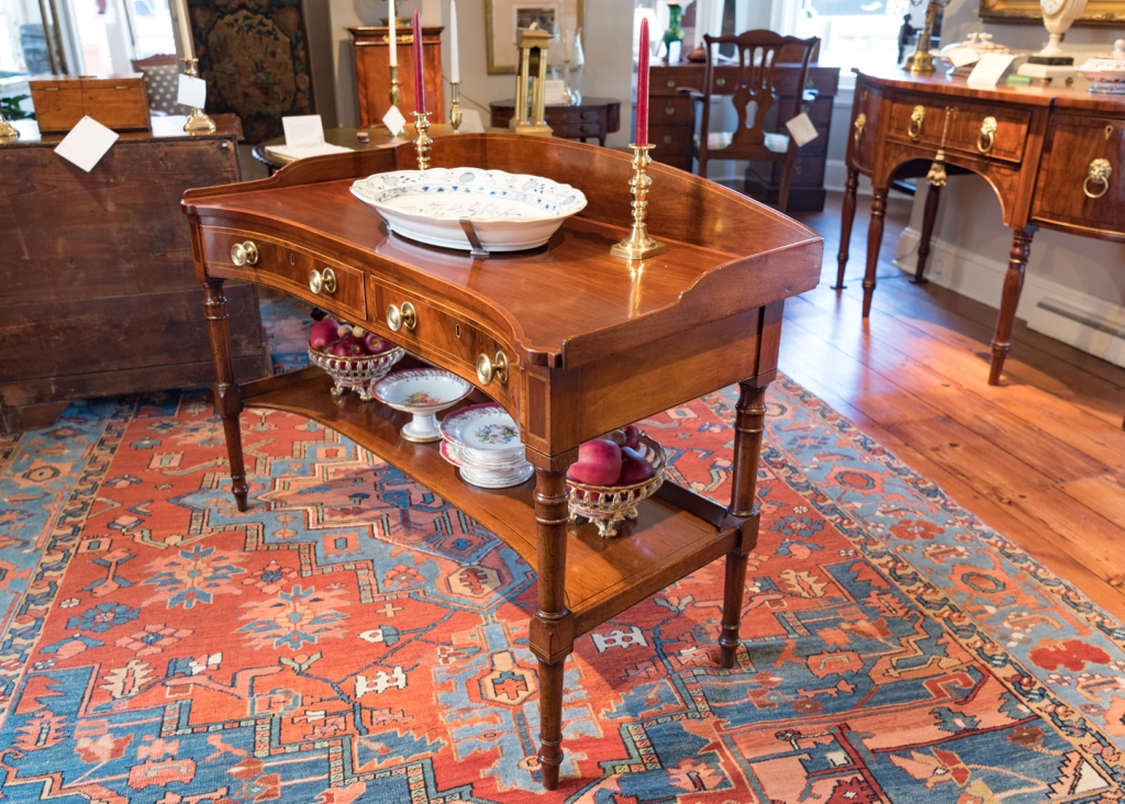 Mahogany serving table side view