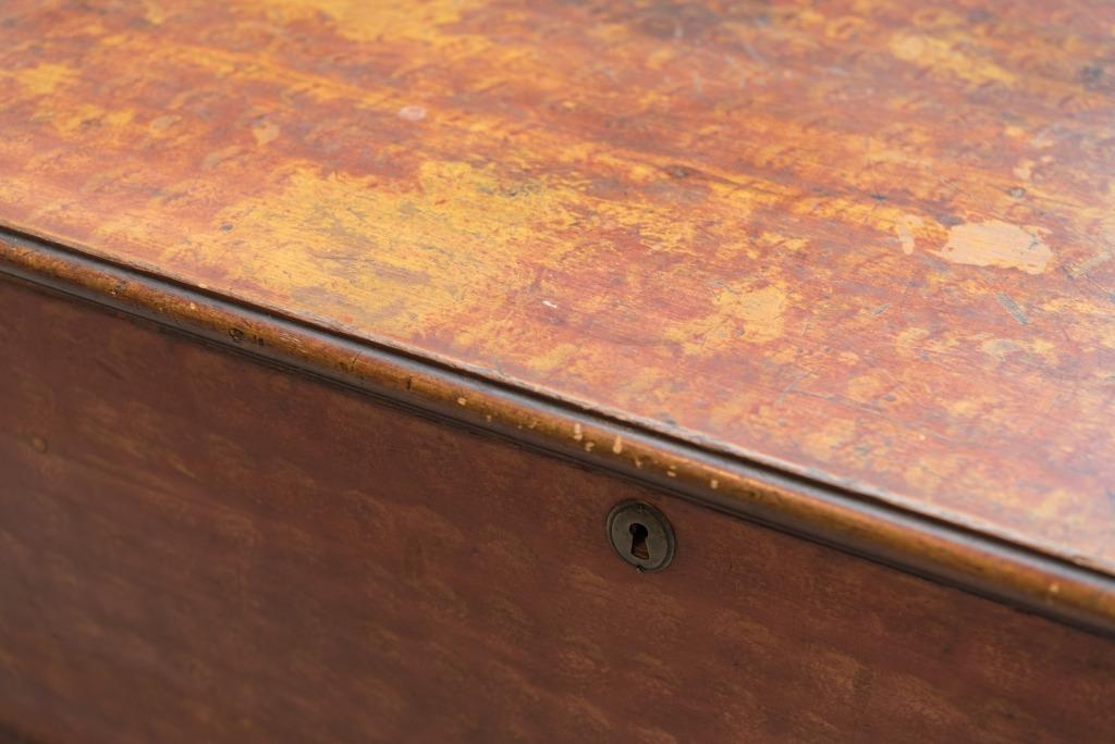 Painted Decorated Red Mustard Pine Blanket Chest top detail