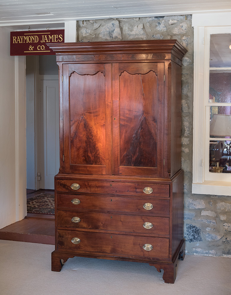 Chippendale-Walnut-Linen-Press