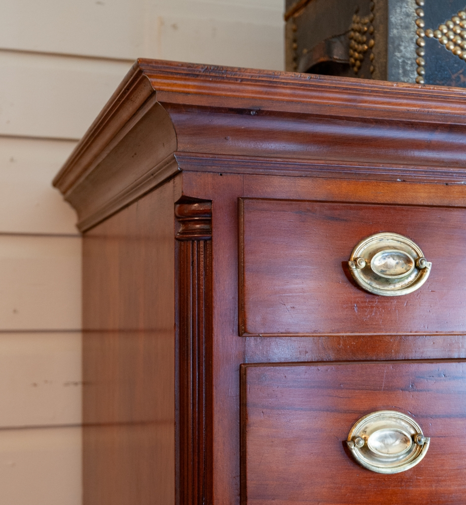 Chippendale Cherry Tall Chest Case Corner Detail