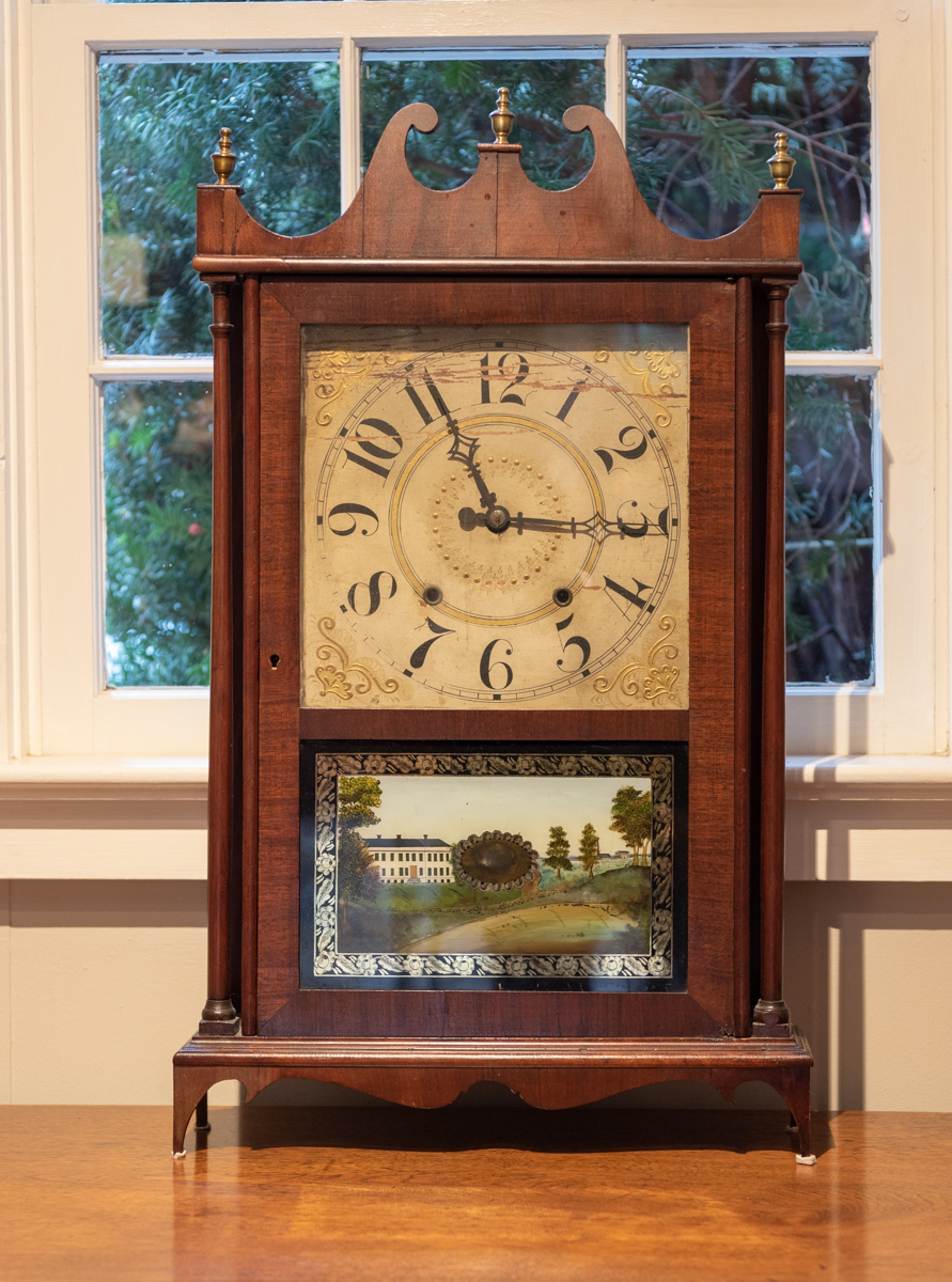 Federal Mahogany Pillar And Scroll Mantle Clock