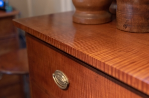 Country Federal Tiger Maple Chest Of Drawers Detail