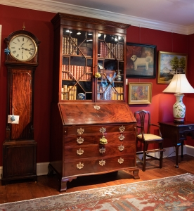 A Fine George II, Walnut Secretary Bookcase Of Rare Small Size Detail
