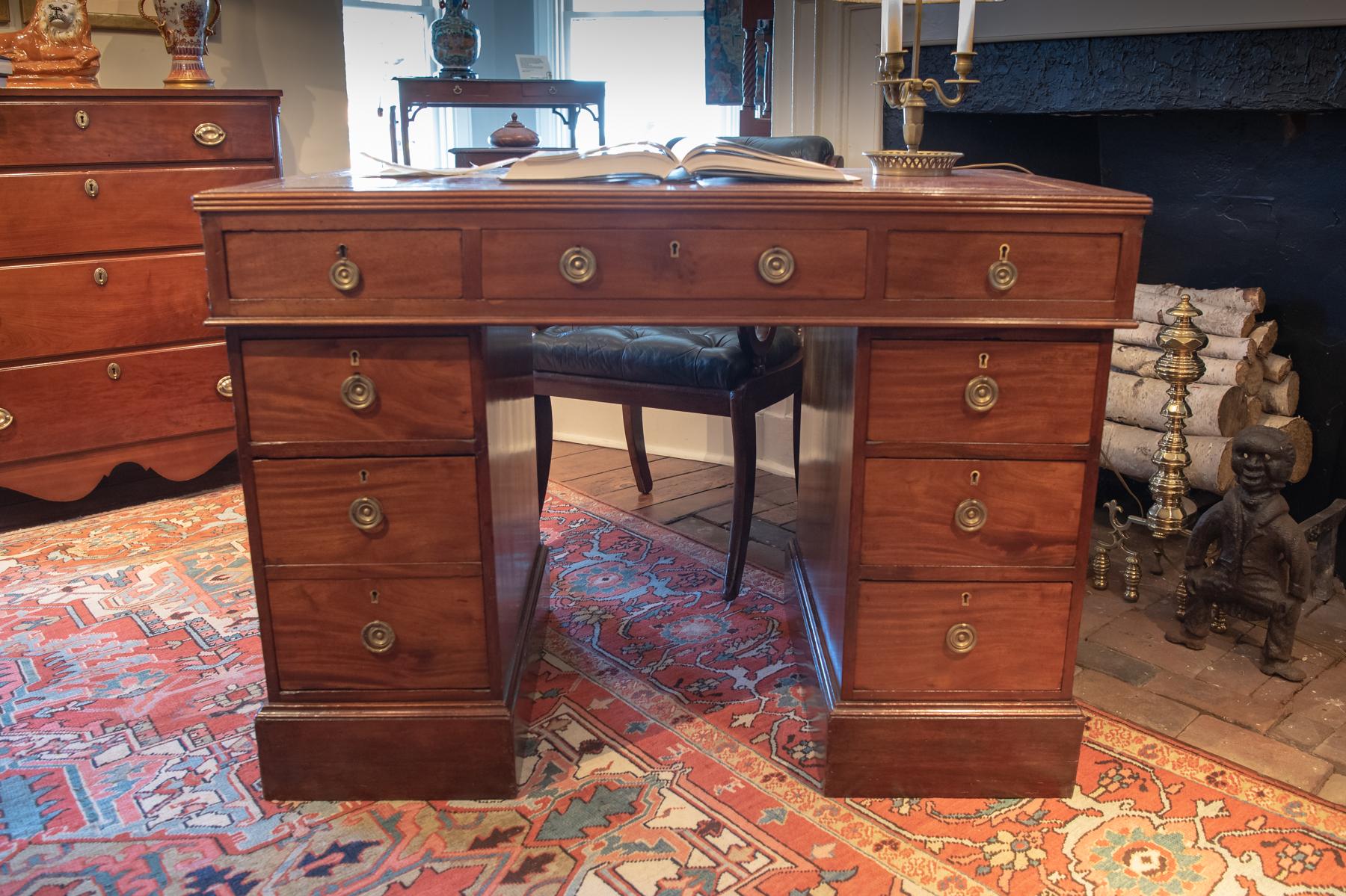 George III, Mahogany 3 Part Writing Desk.