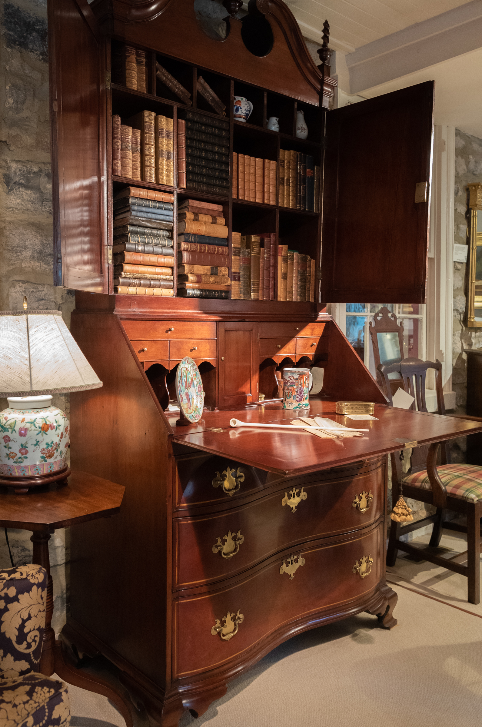 Cherry Chippendale Secretary Bookcase