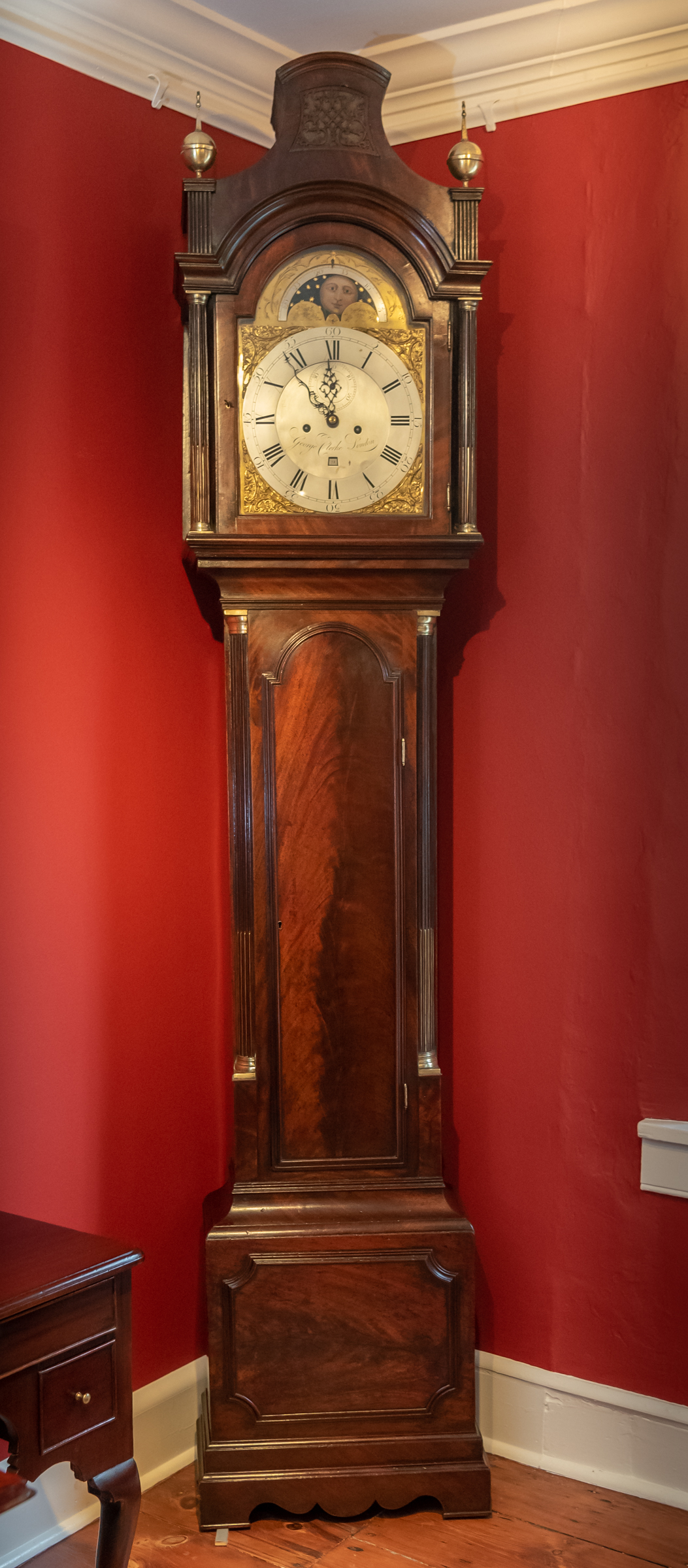 George III, Figured Mahogany Tall Case Clock