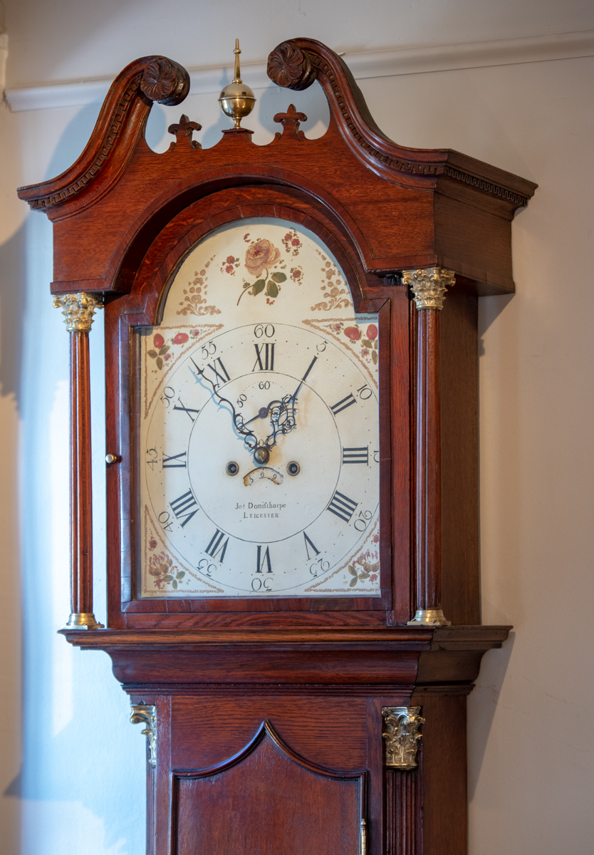 Provincial George III, Oak Inlaid Tall Case Clock