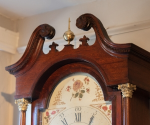Provincial George III, Oak Inlaid Tall Case Clock detail