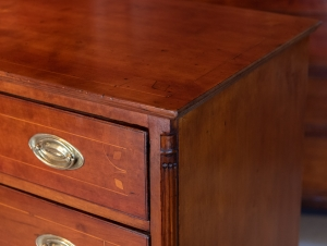 Federal Cherry Inlaid Chest Of Drawers detail