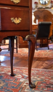 Queen Anne Cherry Bonnet Top Highboy detail