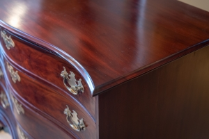 Chippendale Figured Mahogany Serpentine Chest Of Drawers Detail