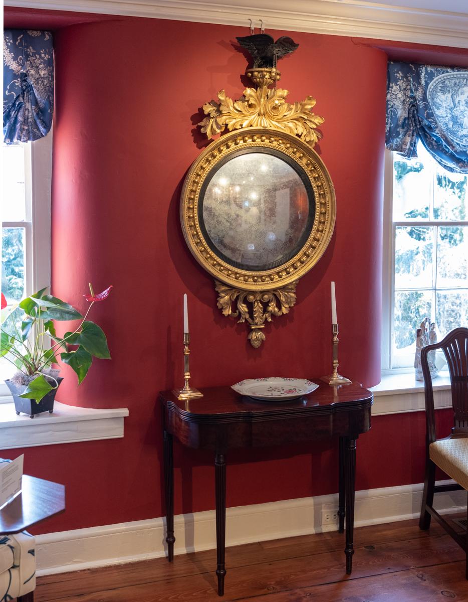 Impressive And Fine Antique Carved Giltwood Convex Mirror