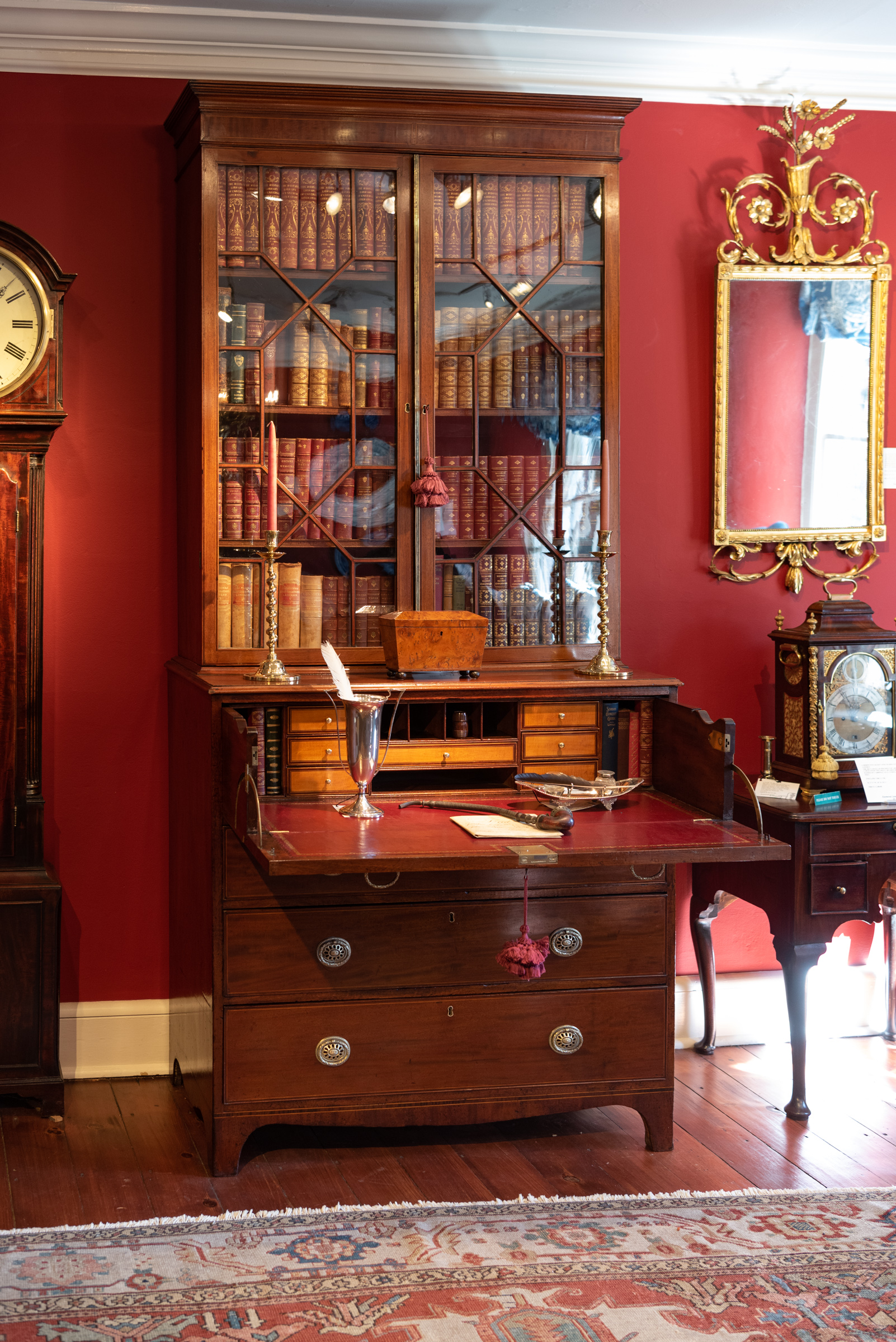 George III, Inlaid Mahogany Secretary Bookcase In Three Parts.