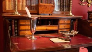 George III, Inlaid Mahogany Secretary Bookcase In Three Parts. Detail