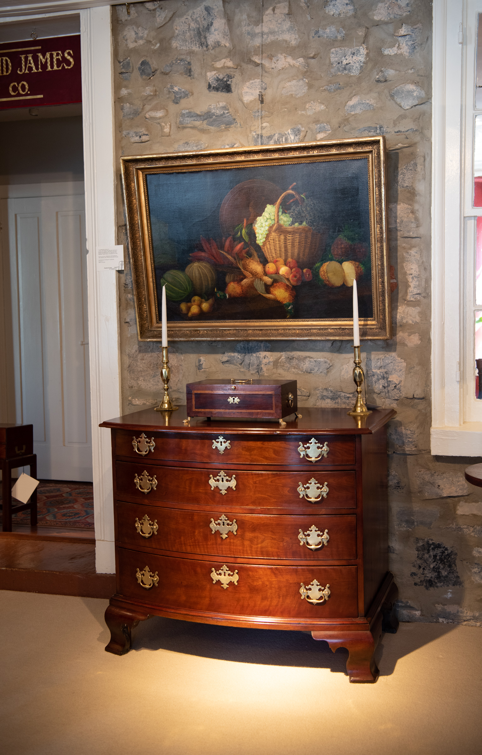 Chippendale Cherry Bowfront Chest Of Drawers