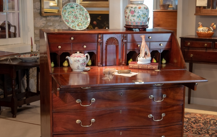 Chippendale Mahogany Reverse Serpentine Slant-Front Desk.