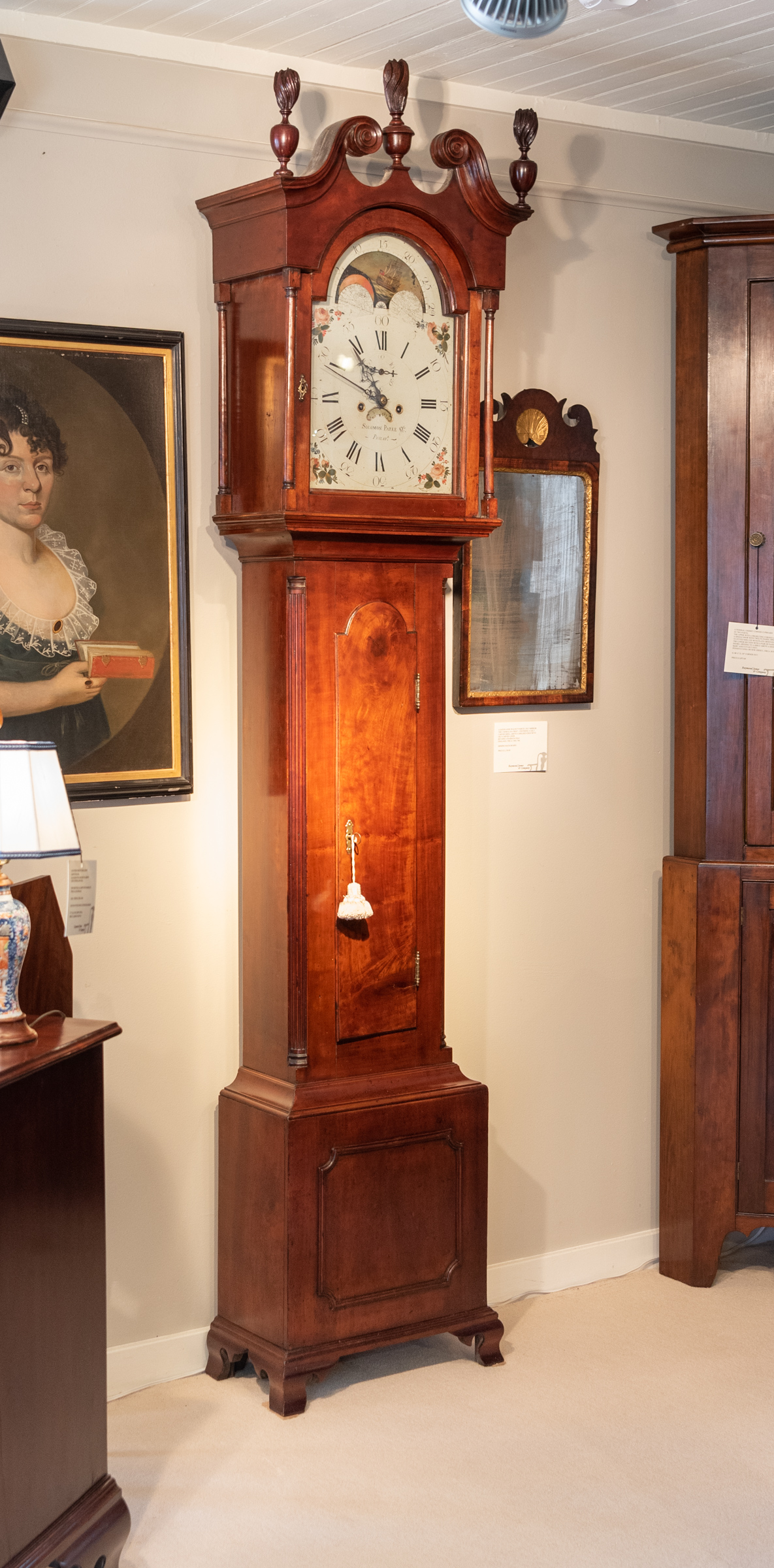 Chippendale Apple Wood Tall Case Clock.
