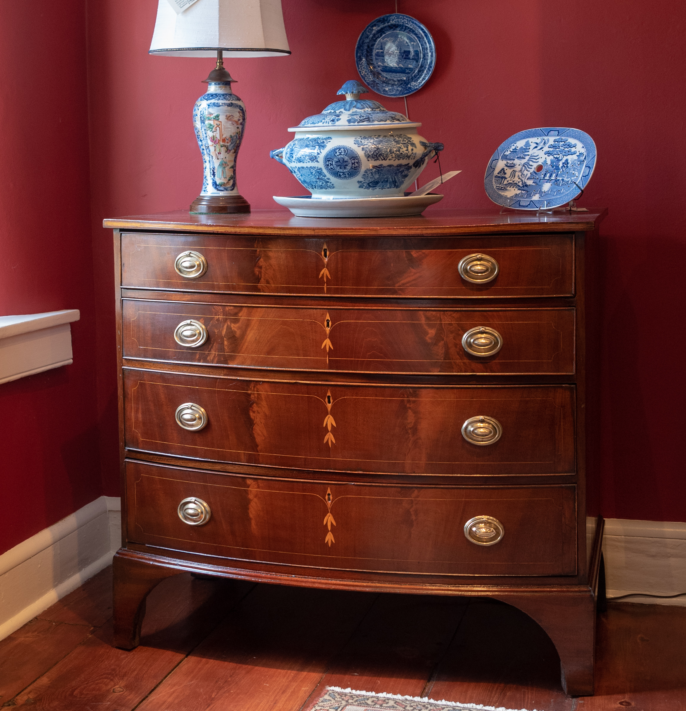 Federal Inlaid Mahogany Bowfront Chest Of Drawers.