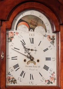 Chippendale Apple Wood Tall Case Clock. Detail