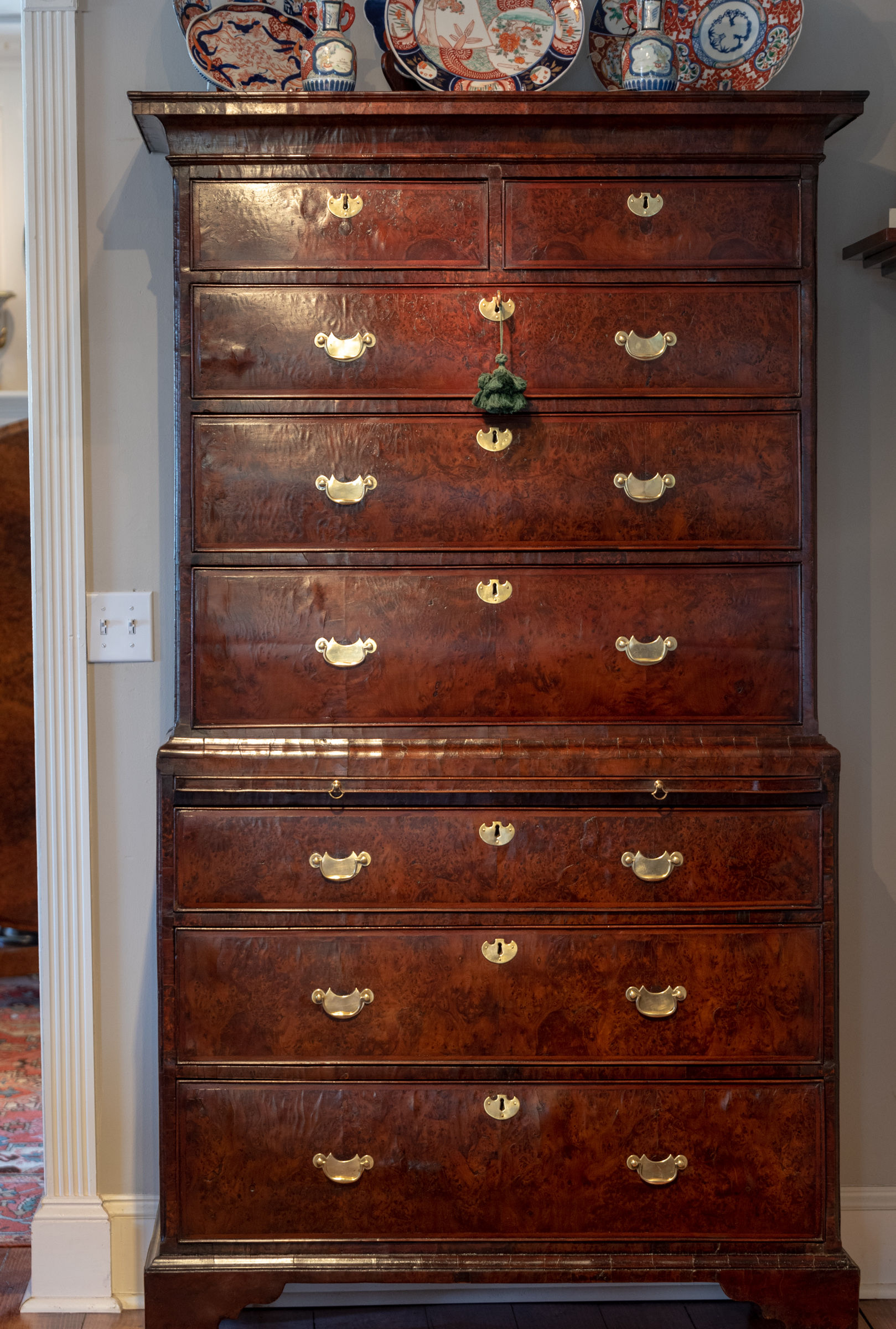 Early George II, Burl Yew Wood Chest On Chest