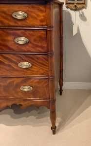 Sheraton Figured Birch Chest Of Drawers Detail