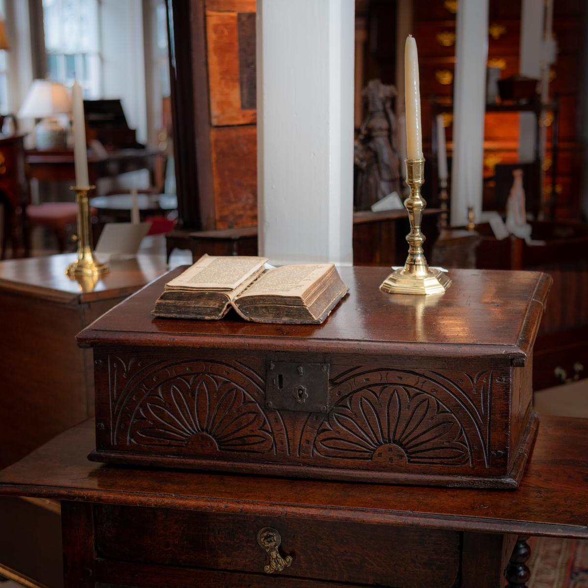 Early Oak Jacobean Bible Box