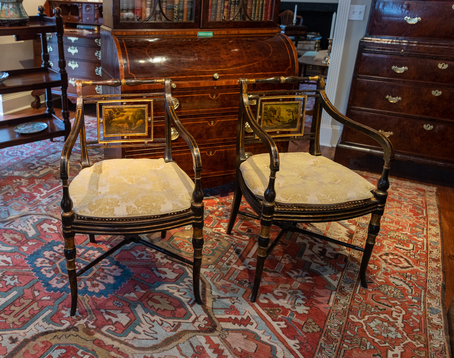 Pair Of Painted Regency Arm Chairs