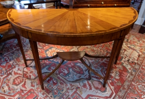 George III Style Demi-Lune Satinwood Console Table detail