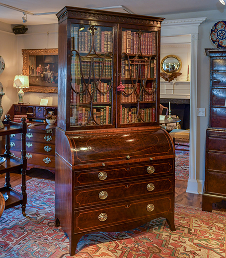 George III, Plum Pudding Mahogany Secretary Bookcase.