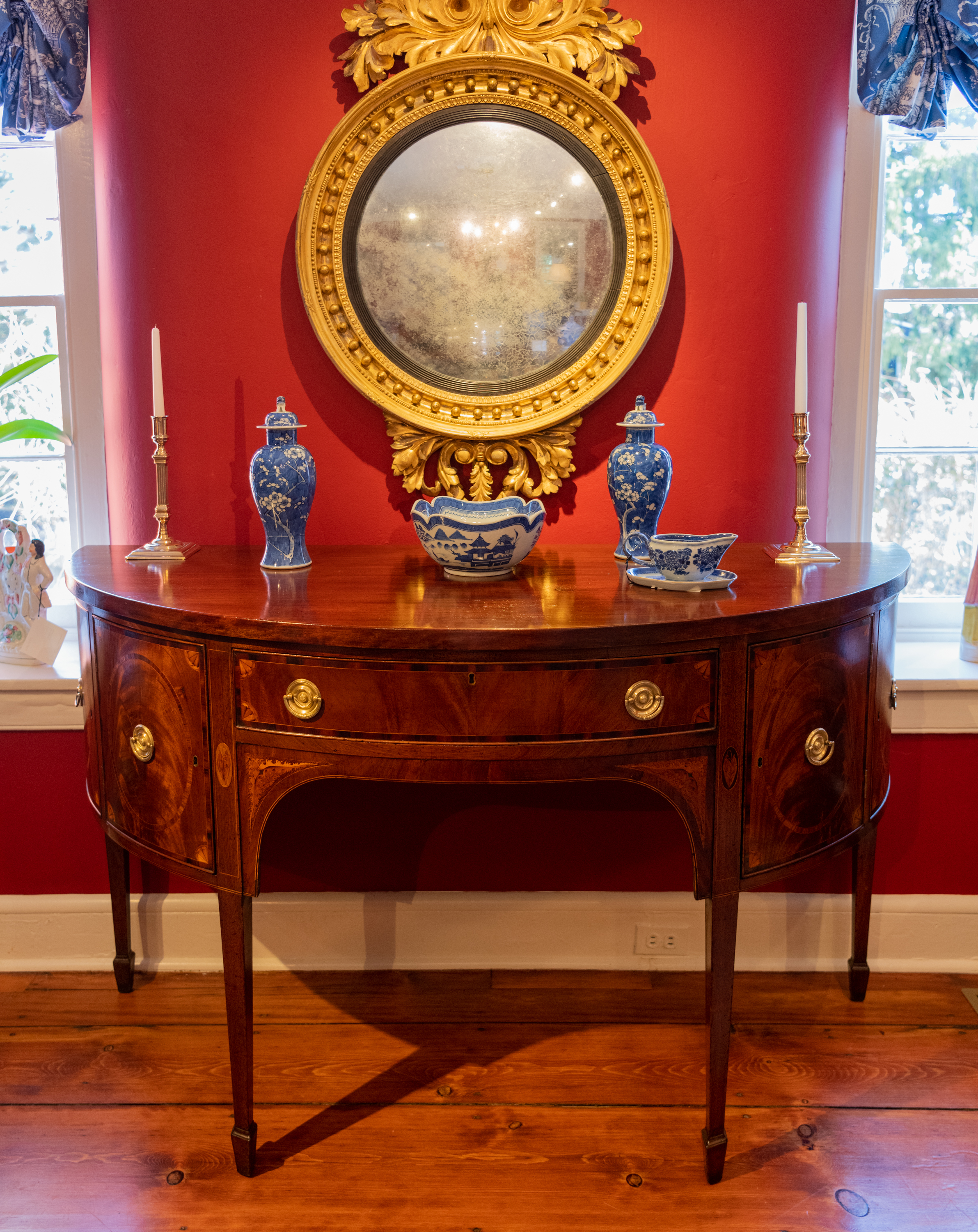 Federal Mahogany Inlaid Demi-Lune Sideboard