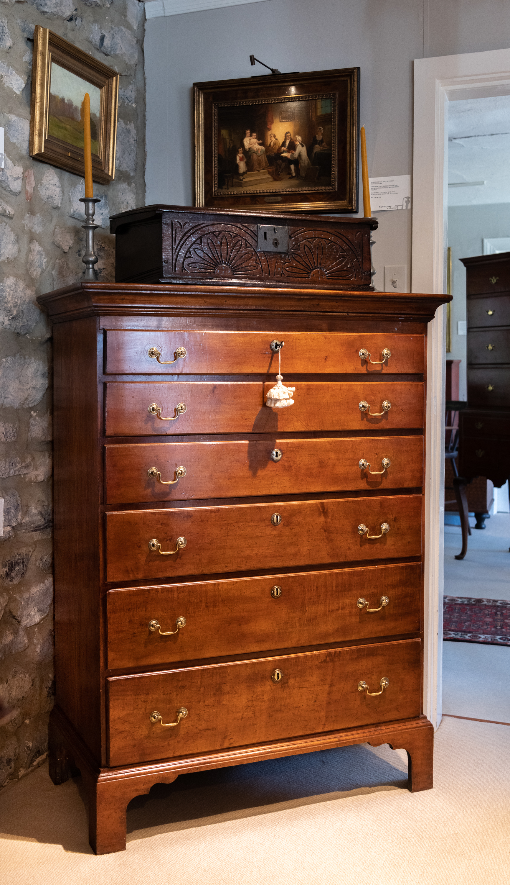 Country Chippendale Maple Tall Chest Of Drawers