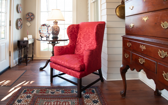 Upholstered George III, Mahogany Wing Chair