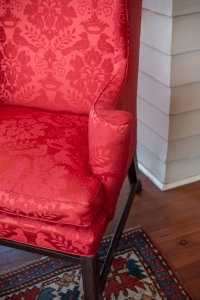 Upholstered George III, Mahogany Wing Chair detail