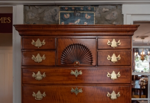 Queen Anne Tiger Maple Highboy In Two Parts detail