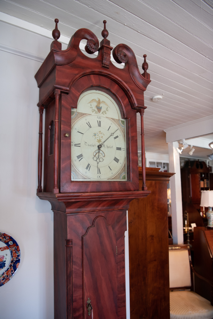 Grain Painted Chippendale Tall Case Clock -top detail