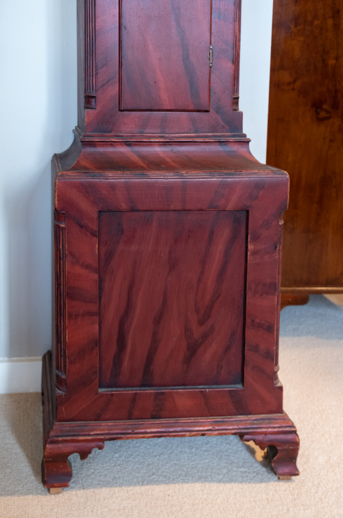 Grain Painted Chippendale Tall Case Clock -bottom detail