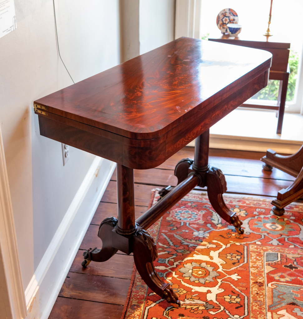 Federal Figured Mahogany Games Table - detail