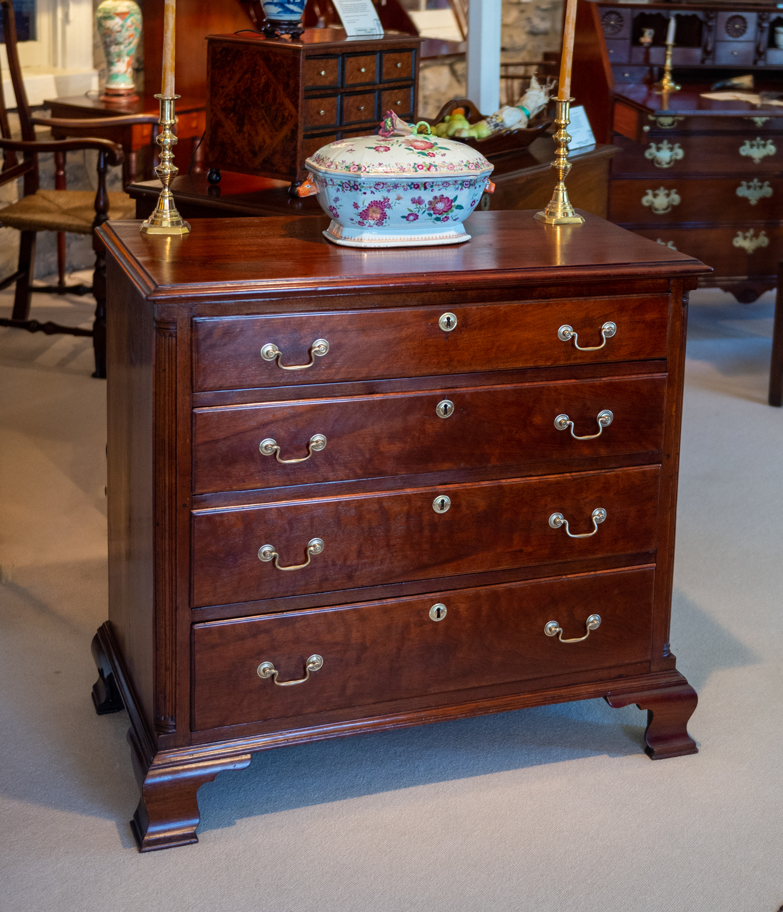 Chippendale Walnut Diminutive Chest Of Drawers